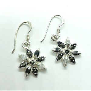 Marsala Flower Sterling Silver 925 Dangle Earrings